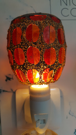 Mosaiklampe orange-rot